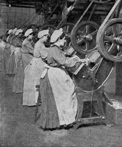 Female workers creating the lids for cans at a Heinz factory in the US in 1909. Today, a factory like this is more likely to be in a country like China, Mexico, or India.