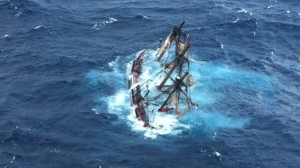 The HMS Bounty sinking after Hurricane Sandy, 2012.