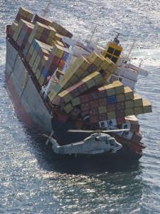 Ship losing cargo