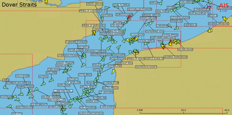 Curious about what tracking technology looks like? Here's an AIS display of the Dover Strait.