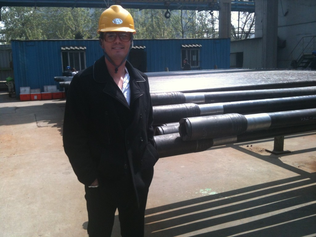Rob touring a drill pipe factory during his work in China.