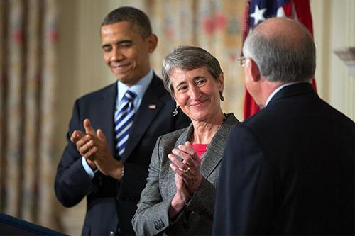 Obama and Interior Secretary Sally Jewell