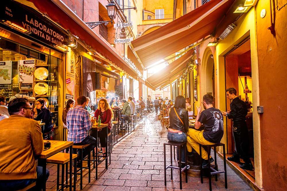 Marketplace patio in Bologna