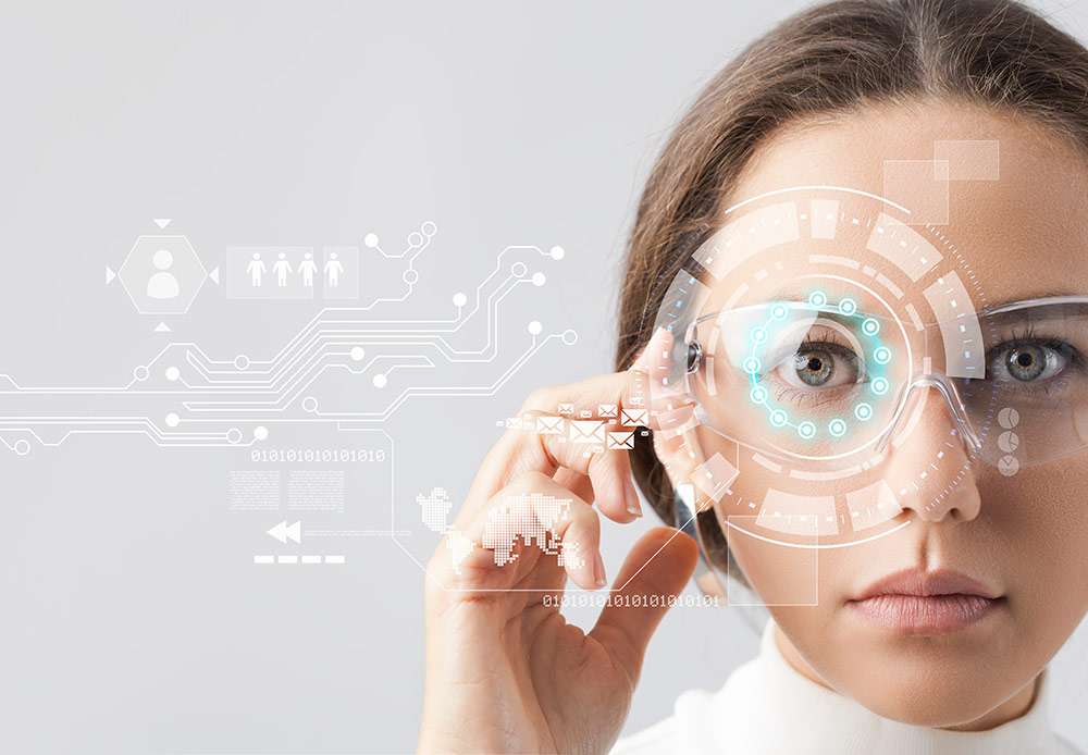 Woman working with a virtual screen