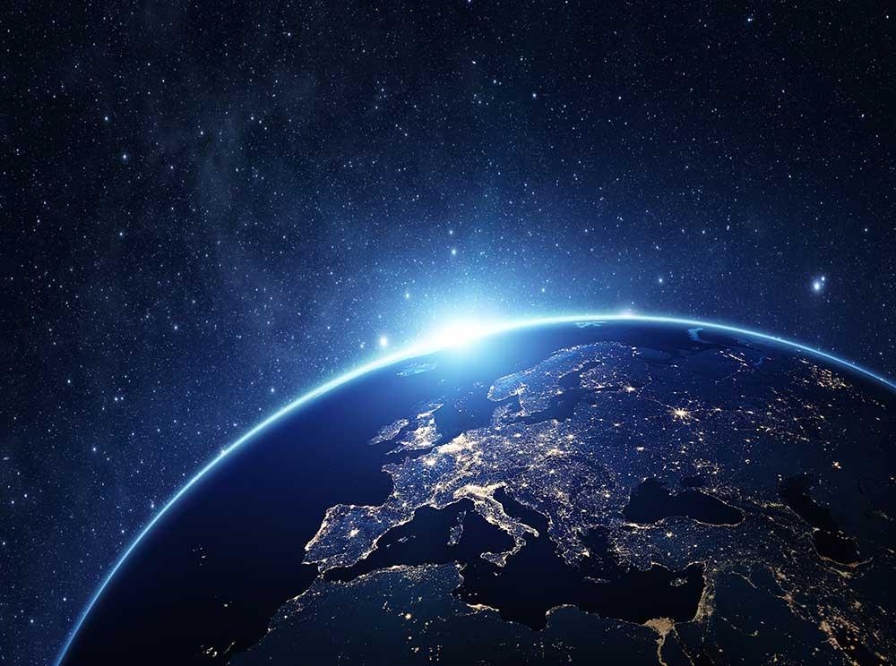 Globe lit up at night
