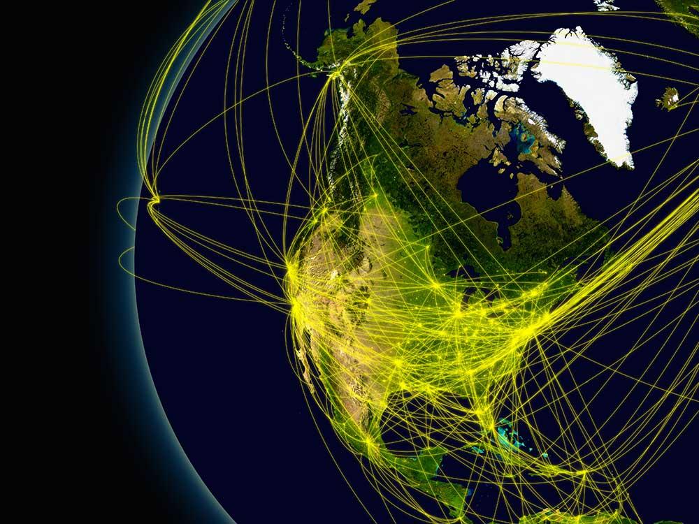 Globe highlighting North America