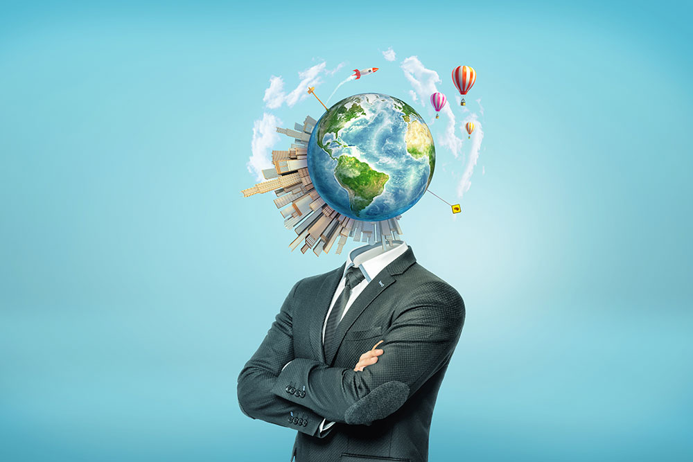 business man with globe for a head