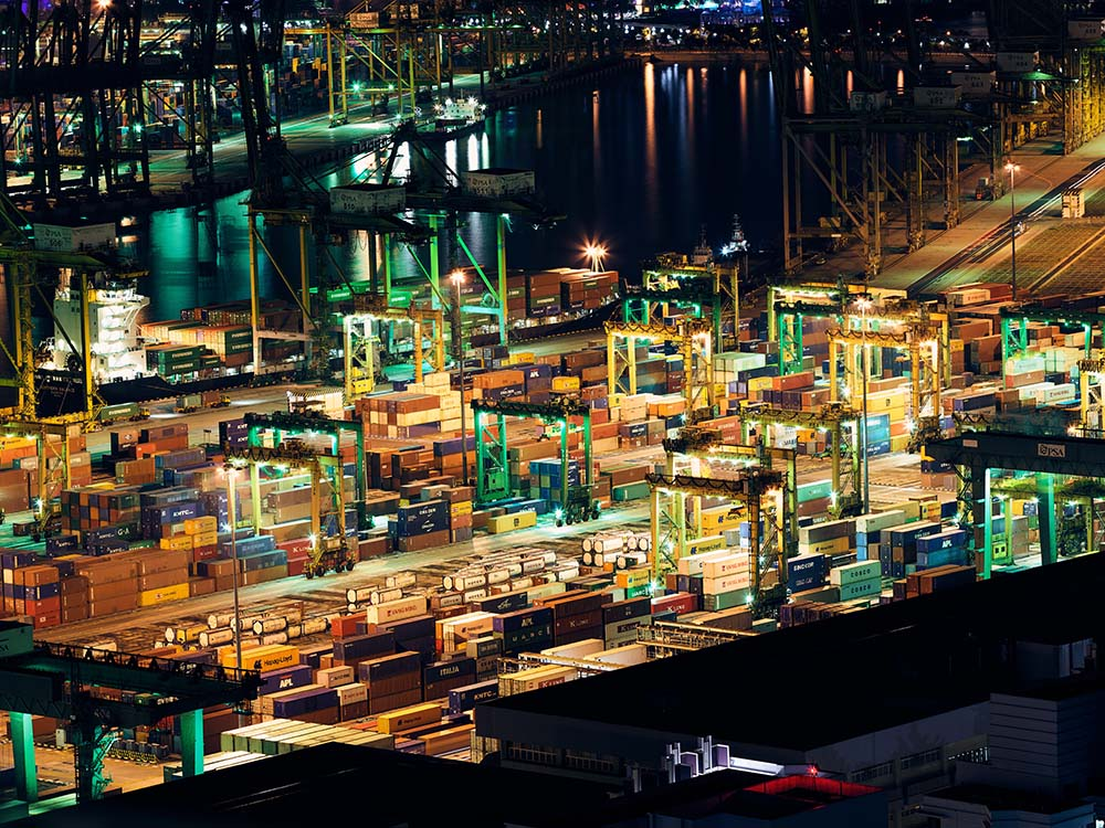 Shipping docks at night