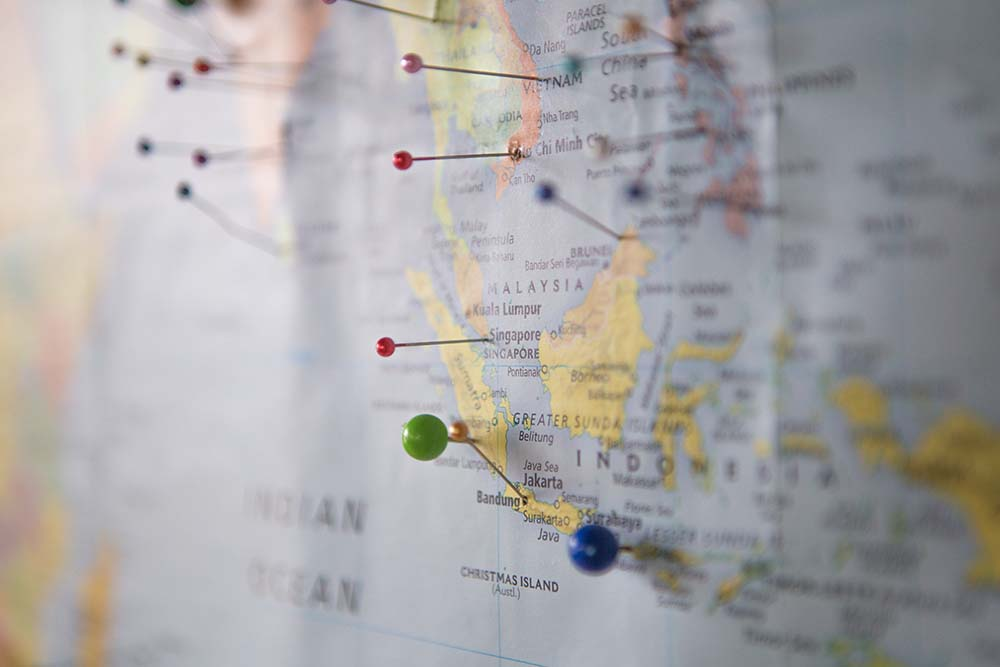 Map of southeast Asia with pins marking various locations - CanExport