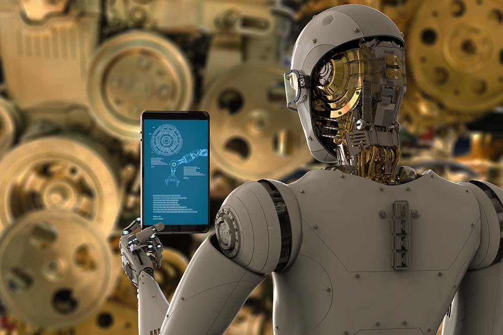 Robot checking a piece of equipment