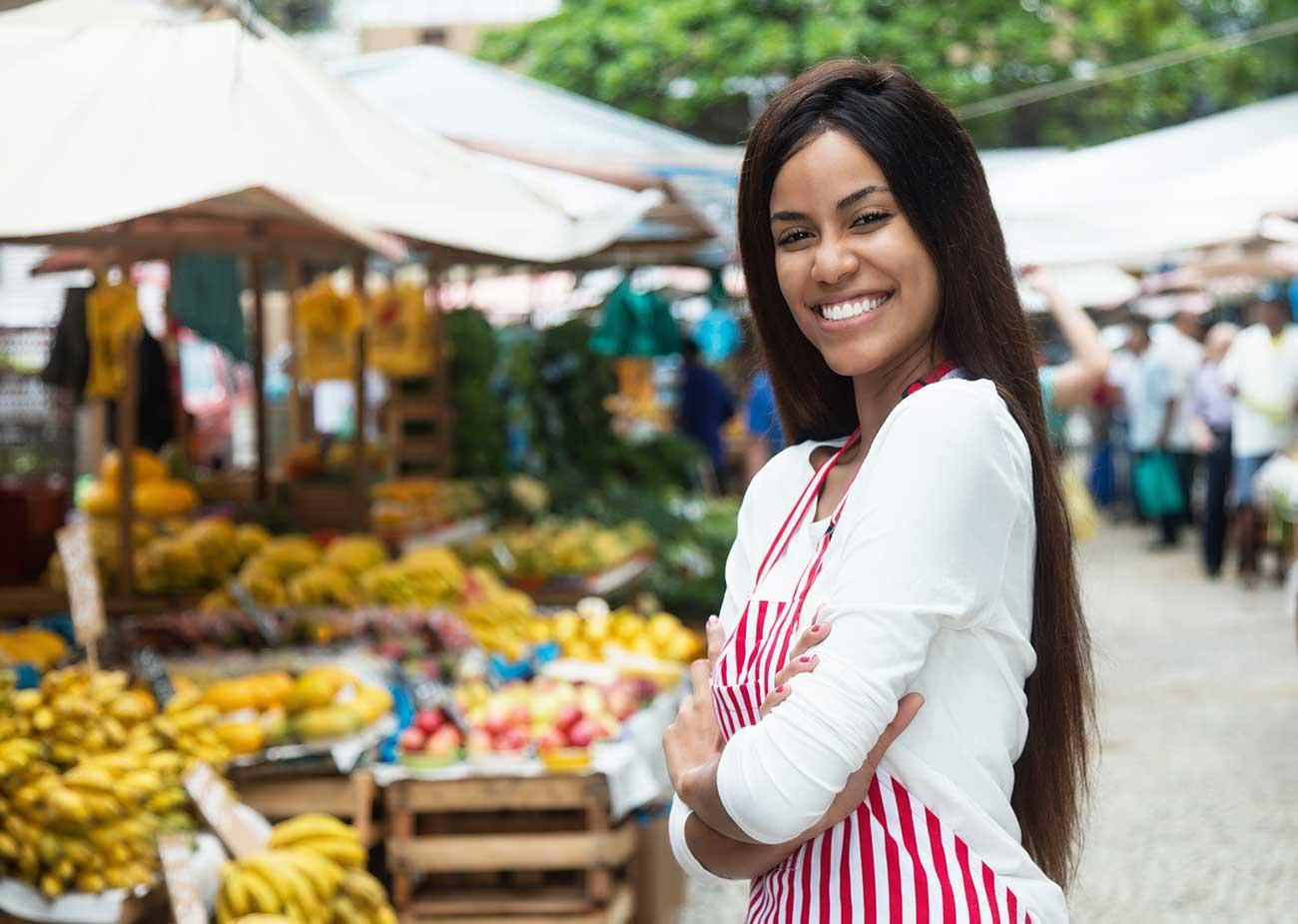 Female vendor at market