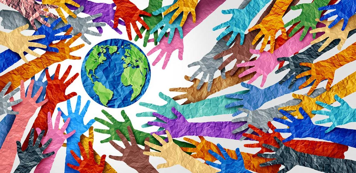colourful hands illustration reaching towards the earth