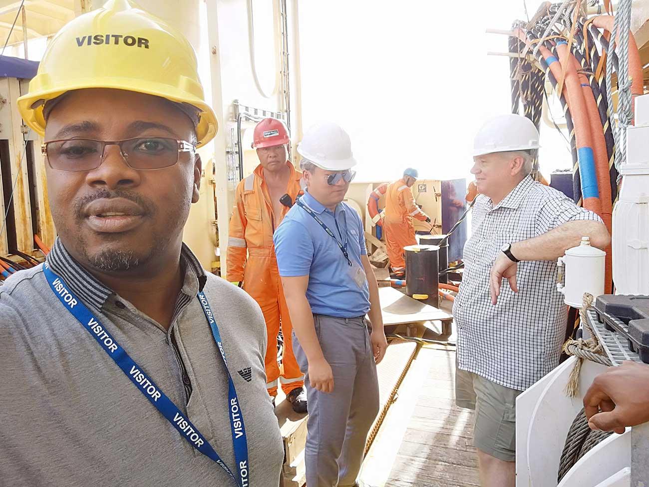 Armel Ndounkeu working on site