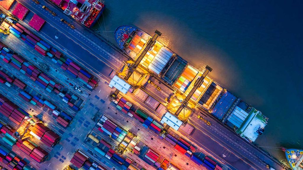 Overhead view of container ship at trade port