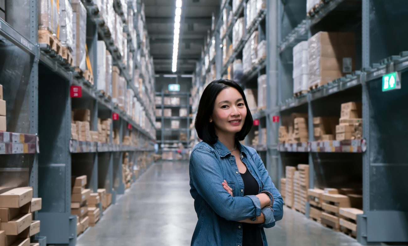 Business woman at warehouse