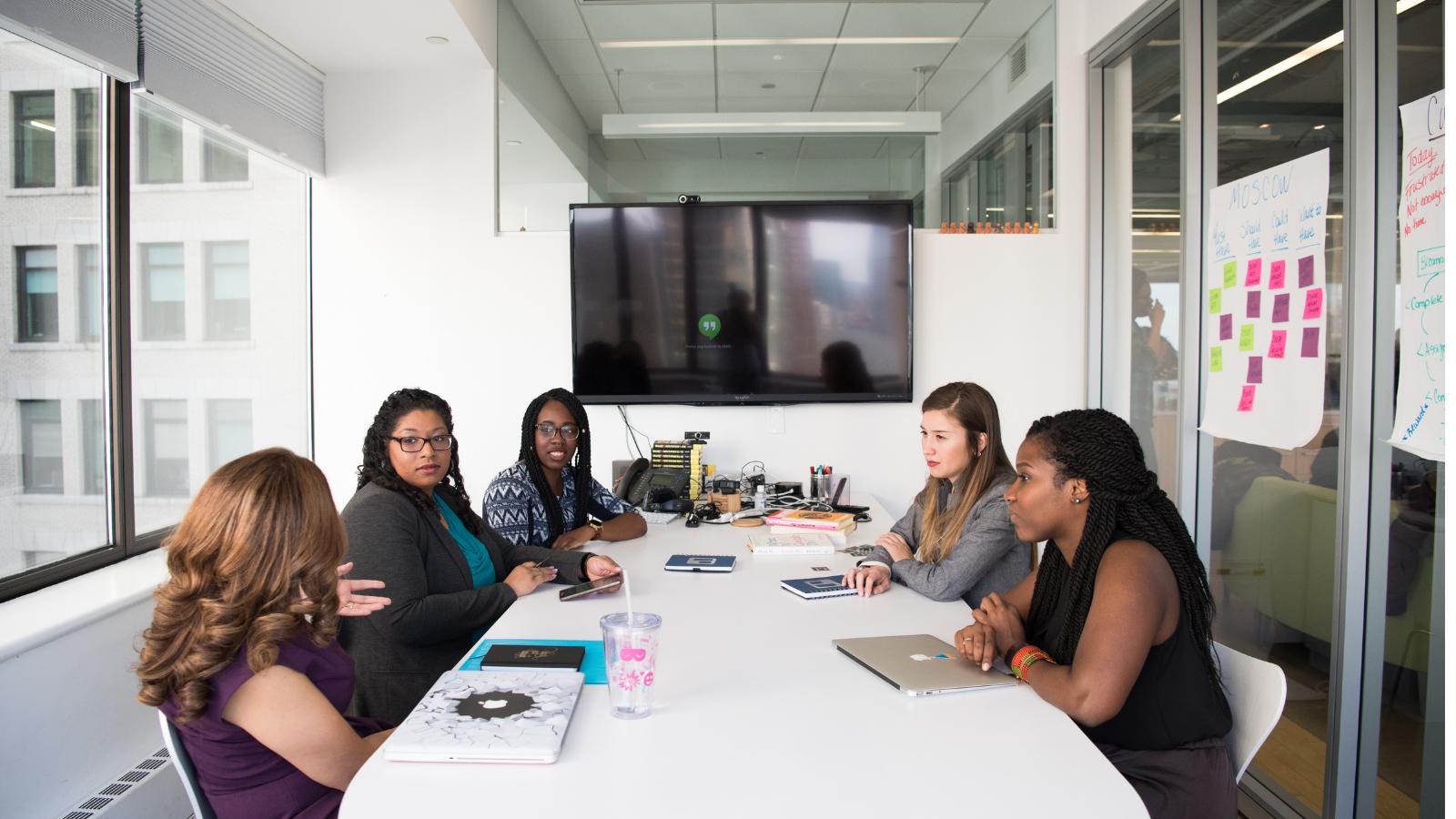 Women working in boardroom
