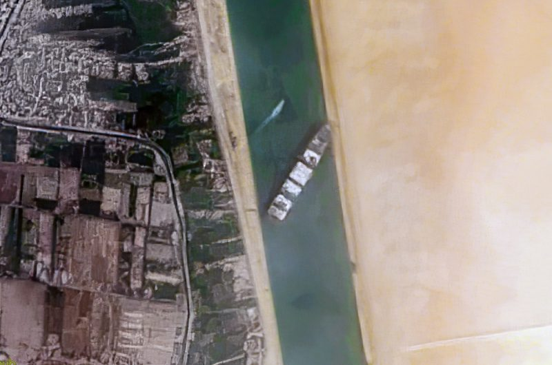 Satellite shot of the Ever Given stuck in the Suez Canal.