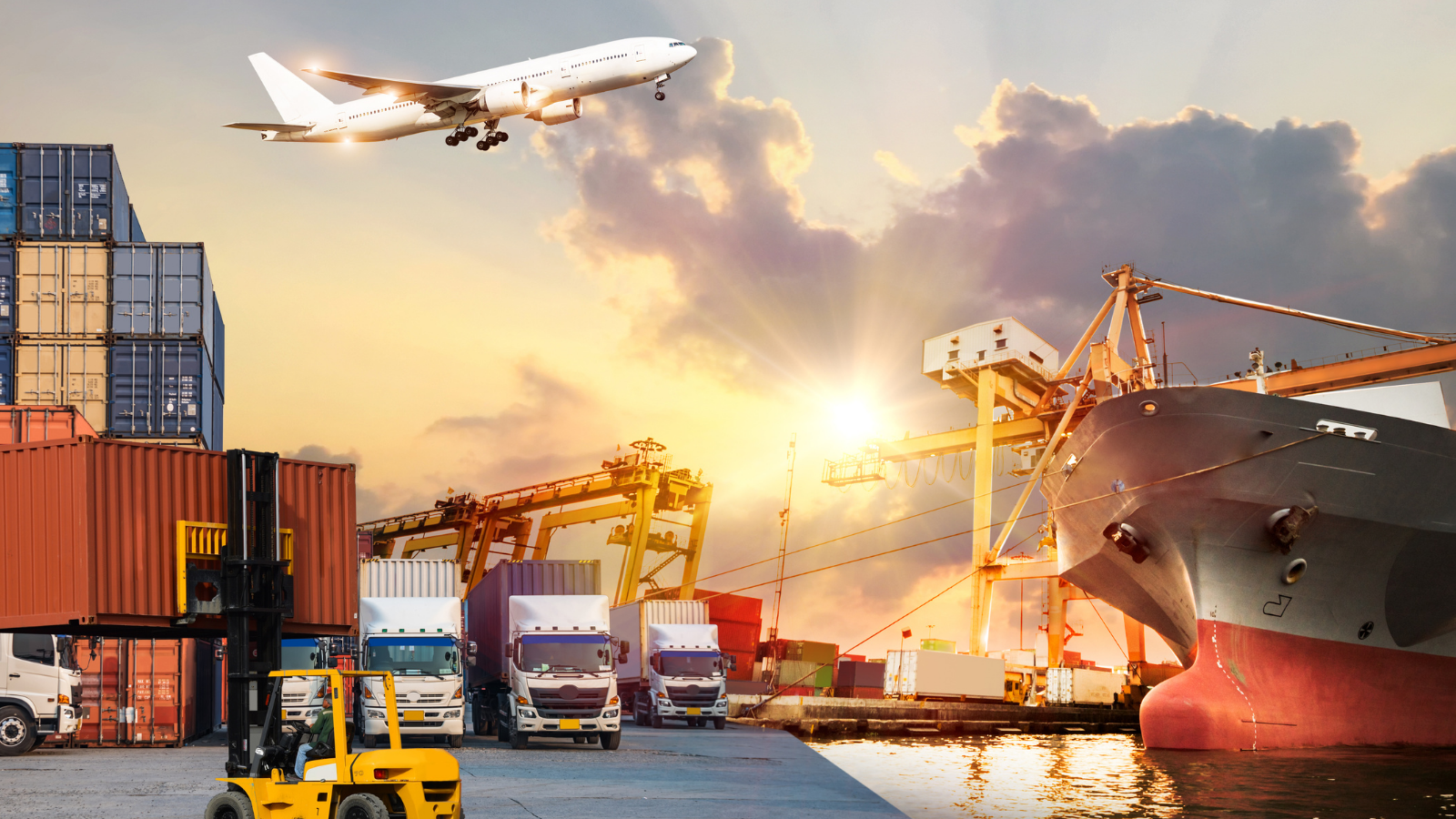 Inbound and outbound logistics, trucks, planes and ships transporting goods.